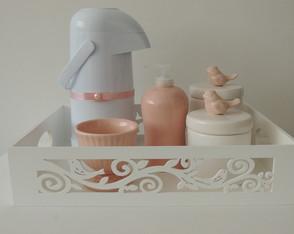 Kit Passarinhos Rosa Seco e Branco