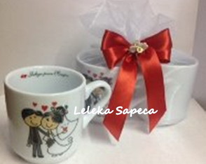 Kit Caneca porcelana Felizes p/ Sempre