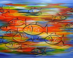 quadro pintado Peixes 70x120 Cod 819