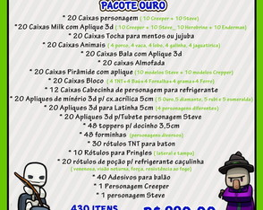 Kit Festa Ouro Minecraft
