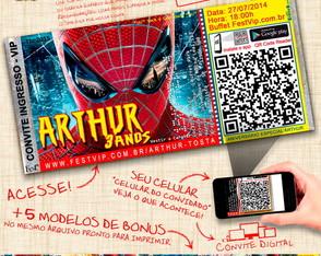 Convite Personalizado Homem Aranha -067