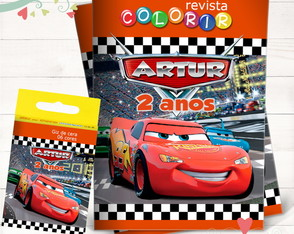 Kit Revista + Giz Carros Disney