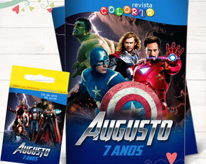 Kit Revista + Giz Os Vingadores