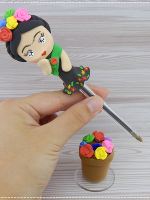 Caneta Decorada Frida Kahlo