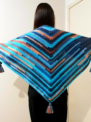 Xale Triangular Shawl Blue