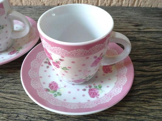 Par de Xícara de Chá - Renda Rosa