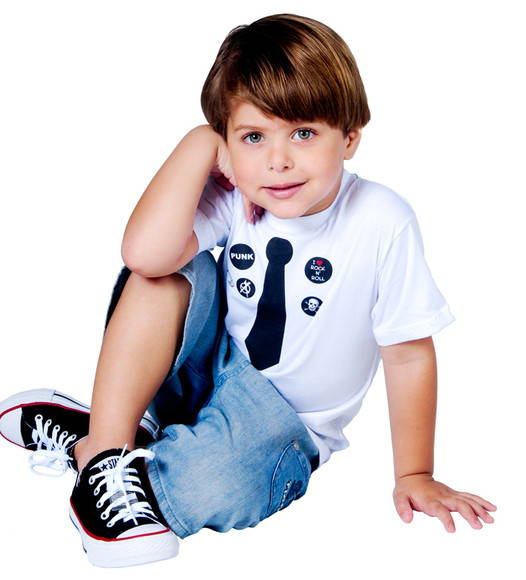 T-Shirt Beb e Infantil GRAVATINHA PUNK