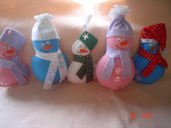 Enfeites de Natal - Bonecos de Neve