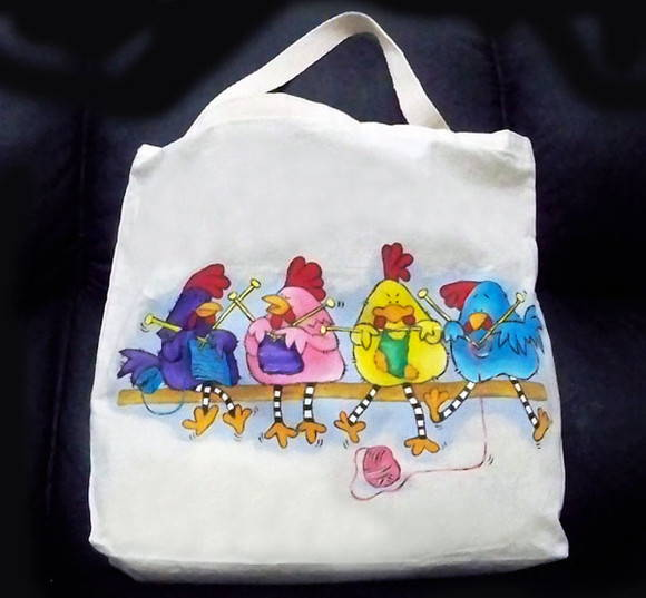 Ecobag Galinhas tricotando