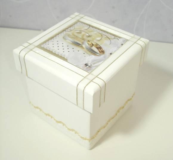 decoracao branca e dourada para casamento : decoracao branca e dourada para casamento:Caixa para Casamento Branca com Dourada
