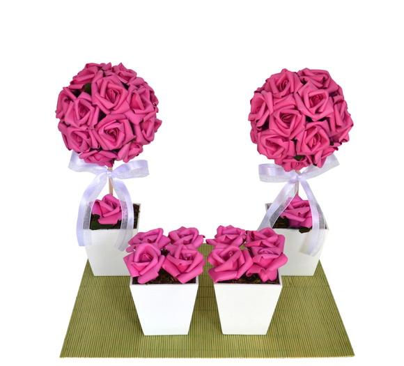 kit decoracao casamento:kit-topiaria-decoracao-mini-casamento-mesa-do-bolo