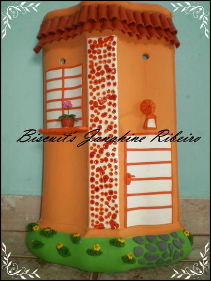 Telha decorada com Biscuit