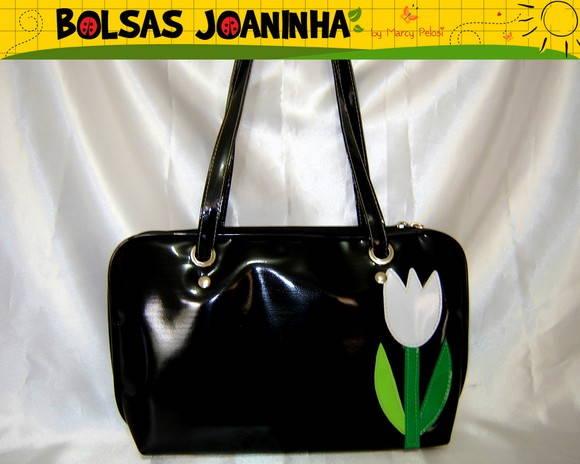 Bolsa De Ombro Lateral : Tulipa lateral bolsa ombro preto bolsas joaninha elo
