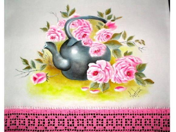 Pano de copa chaleira com rosas