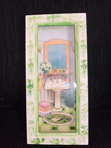 quadrinho decoração de banheirolavabo (  Margarete Orlandi  Elo7 -> Decoracao Banheiro Lavabo