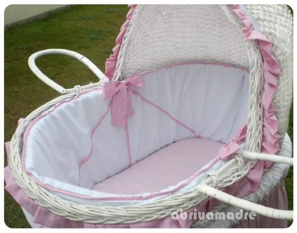 Mois s para beb lacinhos rosados abriu a madre artigos - Moises clasicos para bebes ...