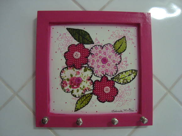 Porta-Chave Patchwork Rosa