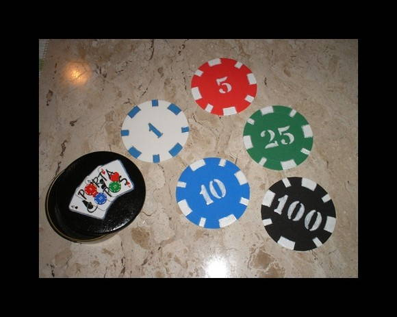 "Porta copos ""poker chips"""