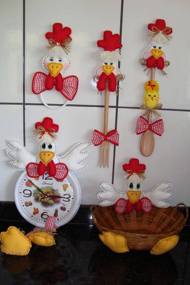 Kit de galinhas p decorar cozinha (01)  JuArtes  Elo7
