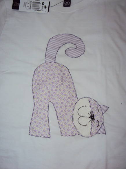 camiseta aplique gato