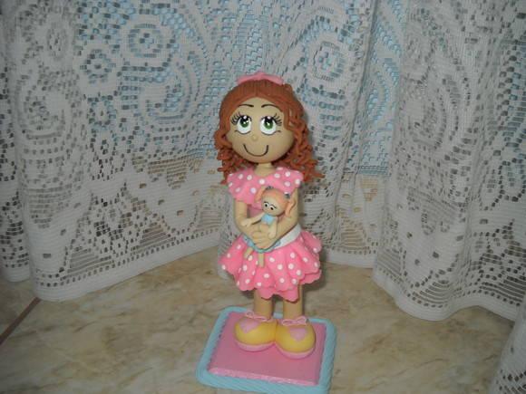 Topo de bolo menina de biscuit