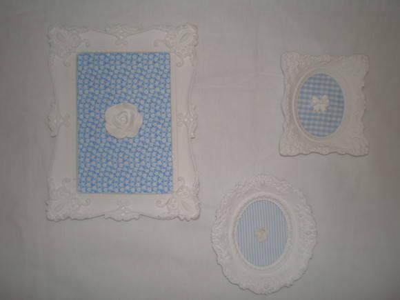 Trio de quadros Proven�ais Azul beb�