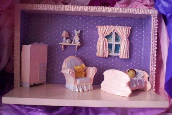Cenário Quarto Bebê Beatriz Lilas Rosa GG Biscuit Elo7 ~ Quarto Rosa E Lilas De Bebe