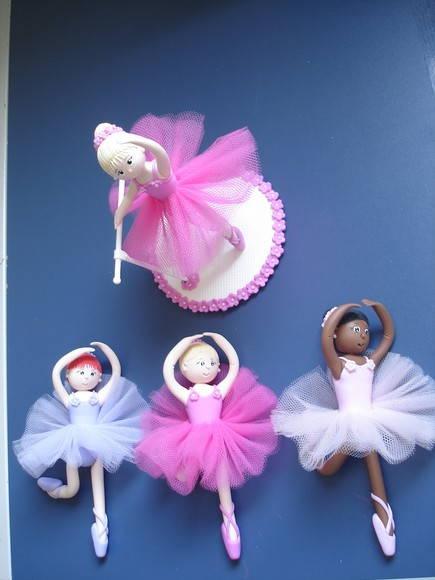 bailarinas m�bile em biscuit e topo bolo