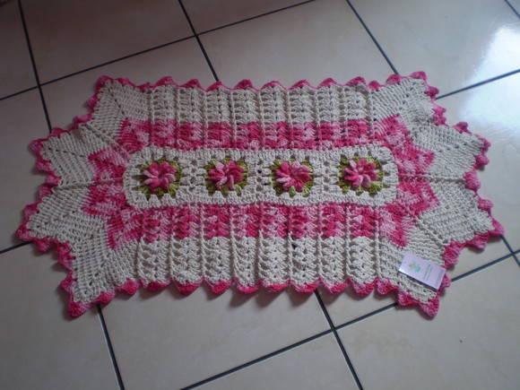 Tapete 4 flores rosa matizado