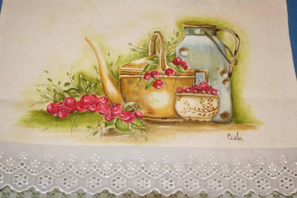 Pano de copa pintado a m�o