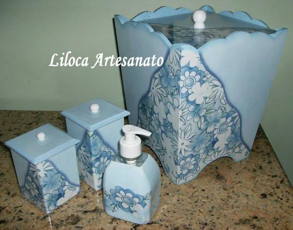 Adesivo De Banheiro Pastilha ~ KIT PARA BANHEIRO Liloca Artesanato Elo7