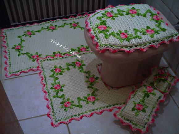 ... > Tapete de Crochê > jogo de banheiro de crochê em barbante
