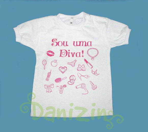 "T-Shirt Beb� e Infantil ""SOU UMA DIVA!"""