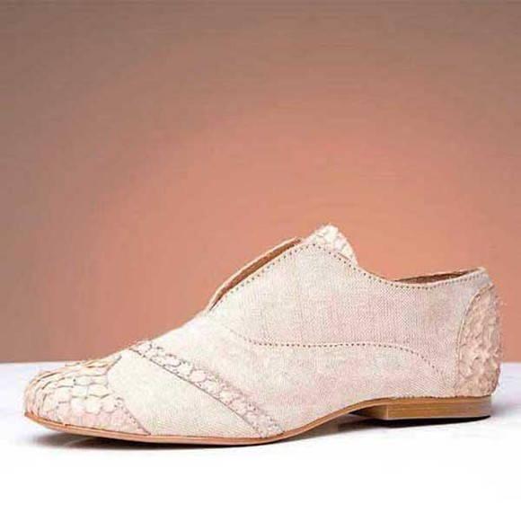 Sapato Oxford algod�o eco e couro C0M412