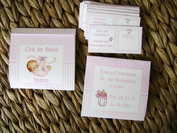 Convite Ch� de Beb�: rosa