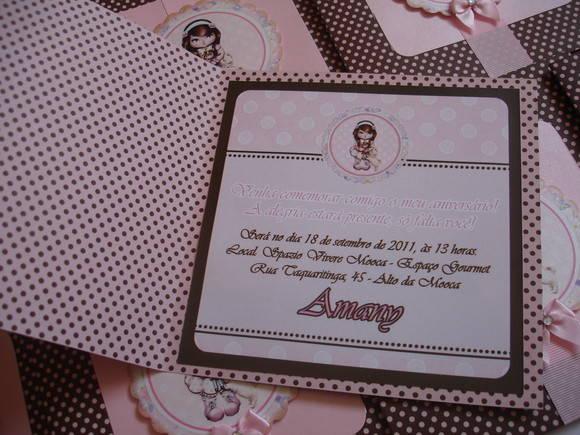 Convite rosa e marrom Jolie