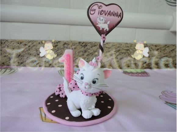 Gatinha marie para topo de bolo