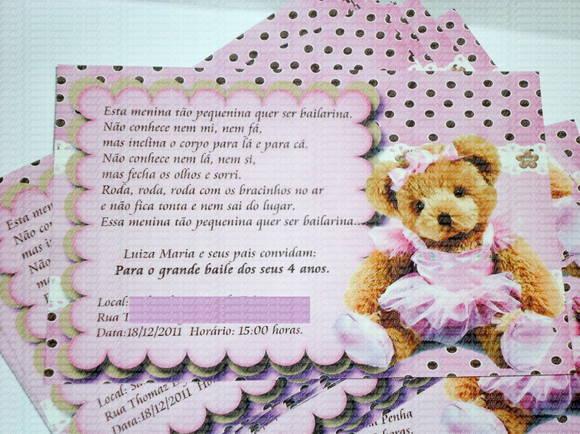 Convite ursa bailarina 2