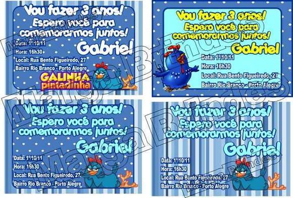 Galinha Pintadinha Convite