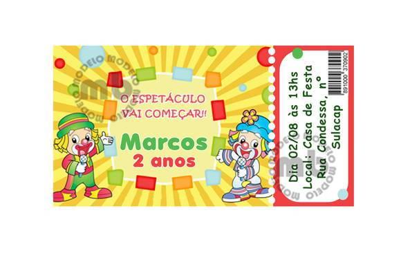 Convite Ingresso - 35 unidades