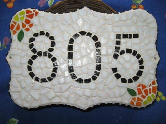 Placa de nmero residencial em mosaico