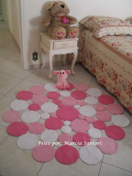 Tapete de Bolas Redondo tons Rosa Marcia Sartori Elo7 ~ Tapete Quarto Medidas