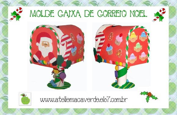 MOLDE CAIXA DE CORREIO PAPAI NOEL | Ateliê Maçã Verde | Elo7