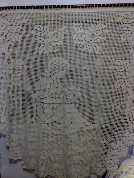 cortina de crochê filé em barbante cru  Crochet fashion  Elo7