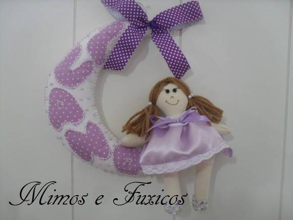 Enfeite De Lua ~ Enfeite Porta Maternidade Lua Lilas Mimos e Fuxicos Elo7