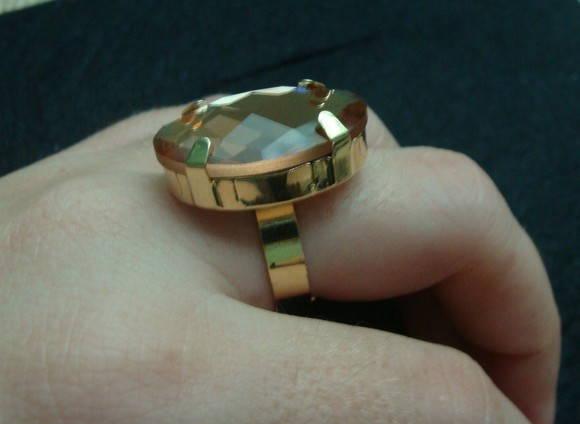 Anel de pedra espelhada cor bronze