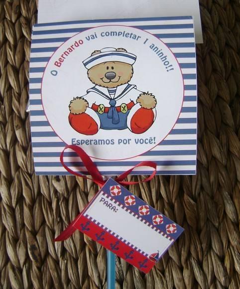 Convite Pirulito: Ursinho Marinheiro