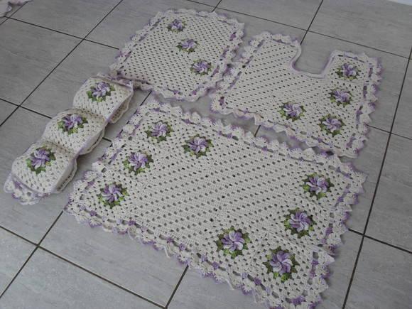 Tapete Floral Para Banheiro : Jogo de banheiro flor catavento Croch? Fasc?nio Loja Virtual
