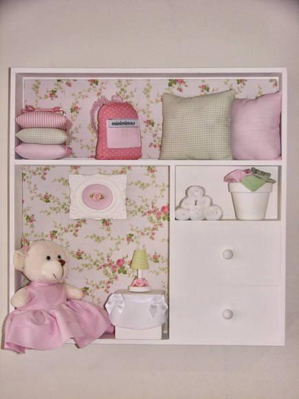 Quadro ursa no quarto rosa e verde Minimimos Elo7