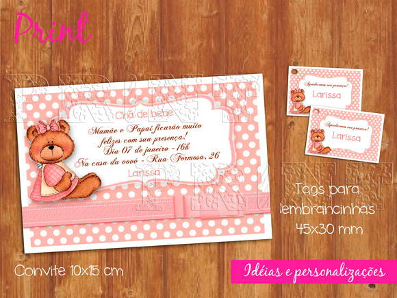 Kit convite + Tag ch de beb - ref 031